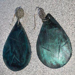 Emerald Isle - leather earrings